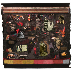 Hannah Senesh 806 by Linda Stein (2014) 5 ft. sq. leather, metal, canvas, paint, fabric & mixed media